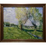 ROBERT FALK 'Landscape, Languedoc, Provence', oil on board, 50cm x 60cm, signed with monogram.