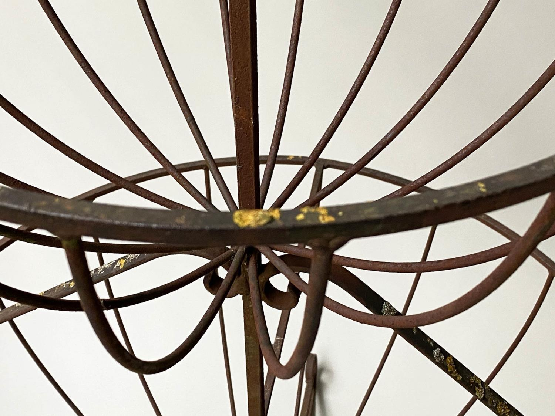 PLANT STAND, circular wrought iron three tier circular graduated basket form, 112cm x 166cm H. - Image 2 of 6
