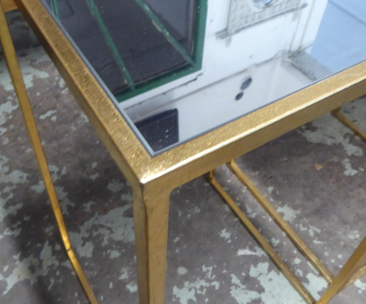 SIDE TABLES, a pair, 1960's French style, gilt metal and mirror, 35.5cm x 35.5cm x 66cm. (2) - Image 2 of 2