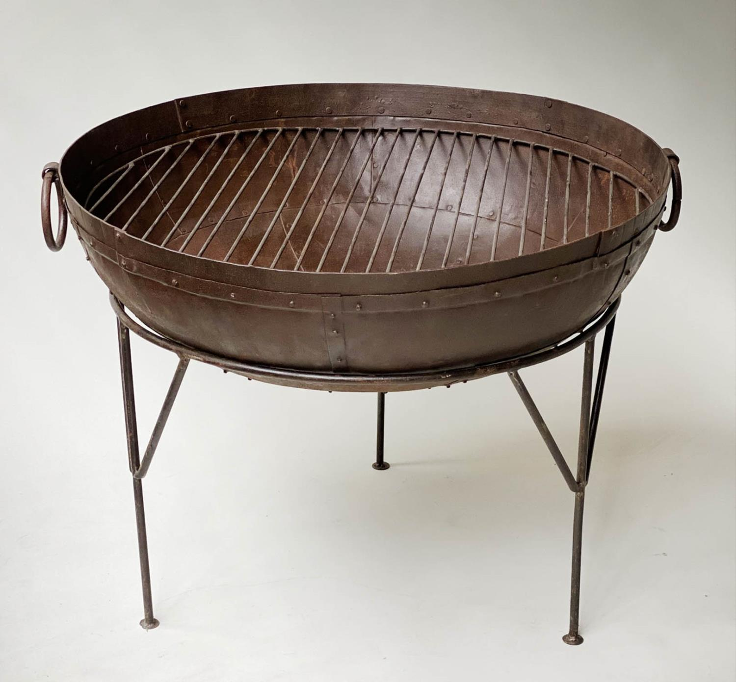 FIREPIT, riveted bowl form with grill and wrought iron stand, 84cm x 65cm H. - Image 4 of 5