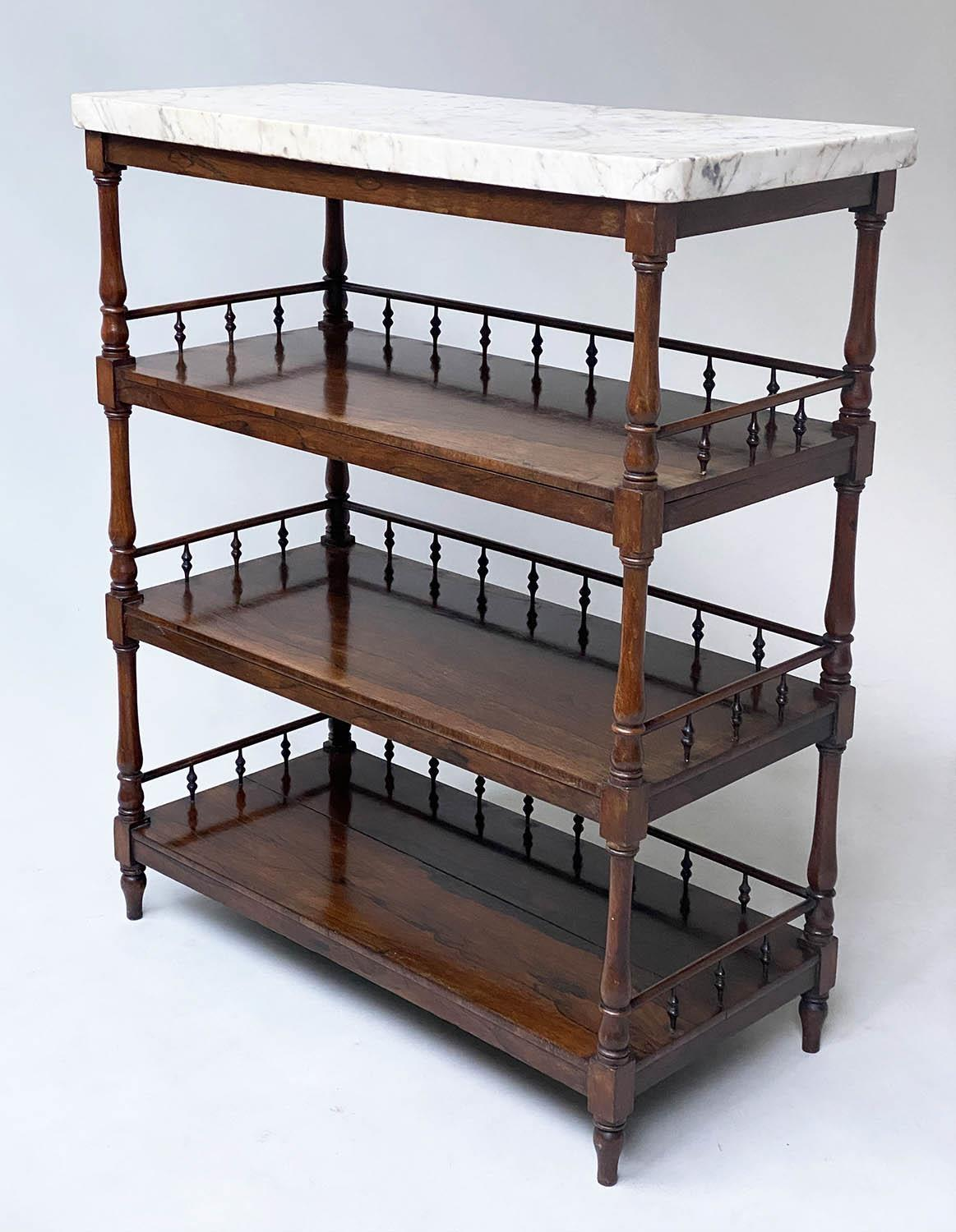 ETAGERE, early 19th century William IV rosewood with grey veined white marble top above three - Image 3 of 6