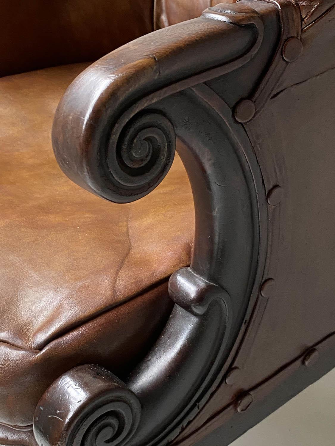 LIBRARY ARMCHAIR, early Victorian mahogany, with hand dyed tobacco brown leather, buttoned back, - Image 8 of 9