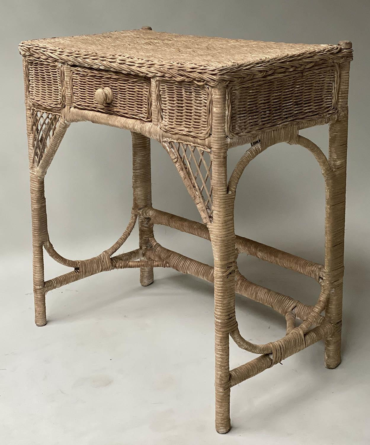 CONSOLE/HALL TABLE, vintage rattan and cane woven, with frieze drawer, 76cm W x 77cm x 42cm. - Image 3 of 7