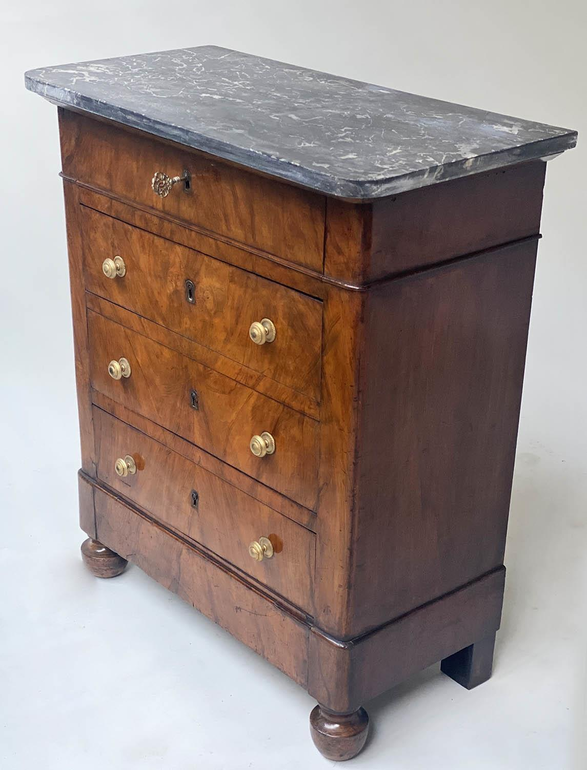 HALL COMMODE, 19th century French Louis Philippe walnut and gilt metal mounted of shallow - Image 2 of 4
