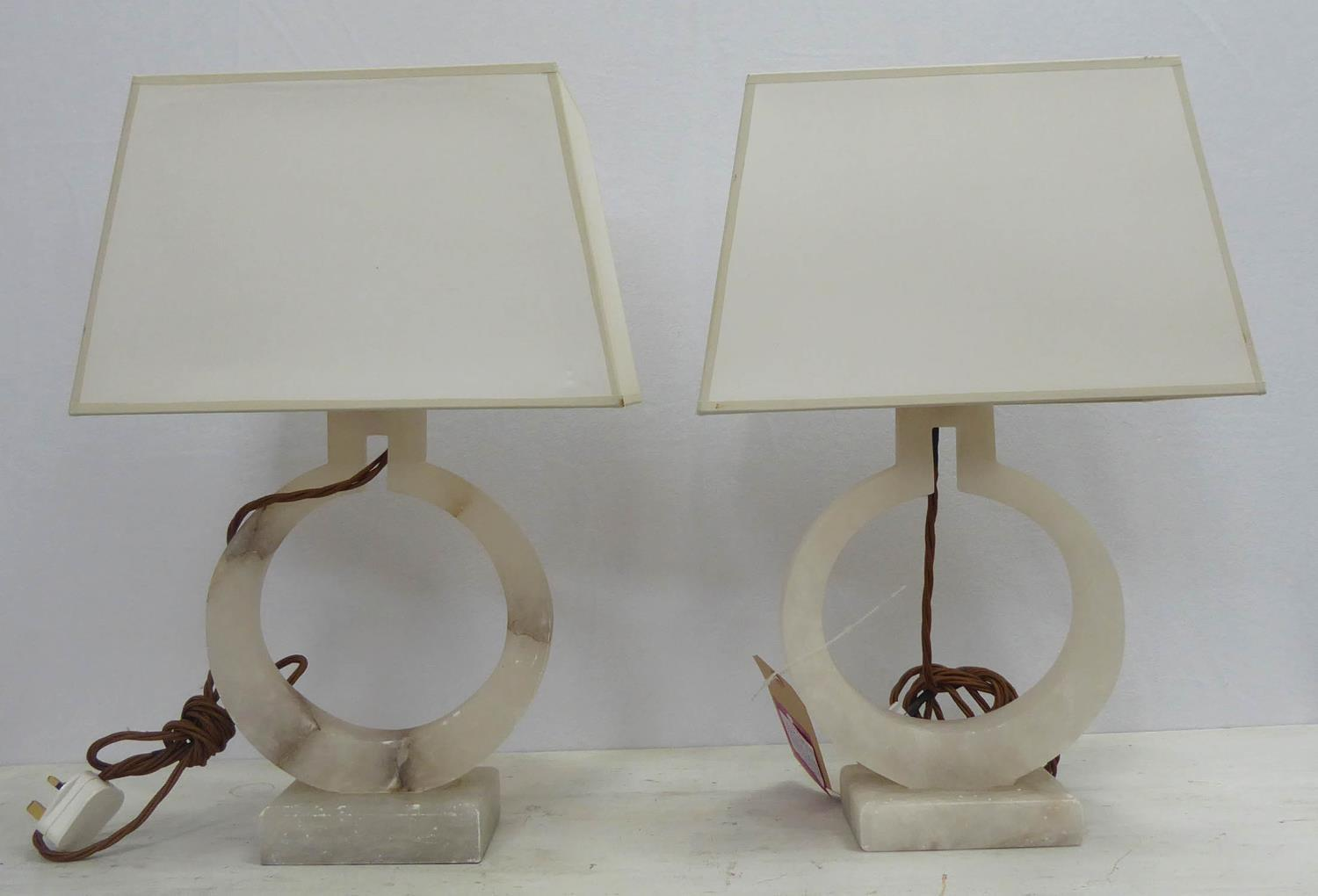 VISUAL COMFORT AND CO E F CHAPMAN RING TABLE LAMPS, a pair, with shades, 52cm H. (2)