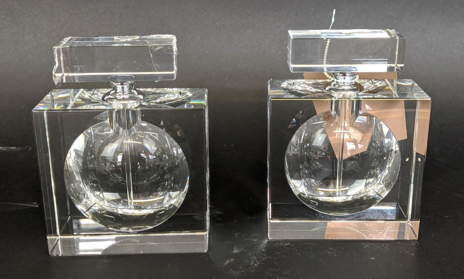 PERFUME BOTTLES, a set of two, lead crystal, 15cm H. (2)