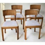 DINING CHAIRS, a set of four oak with ridged bar back and tweed seats. (4)