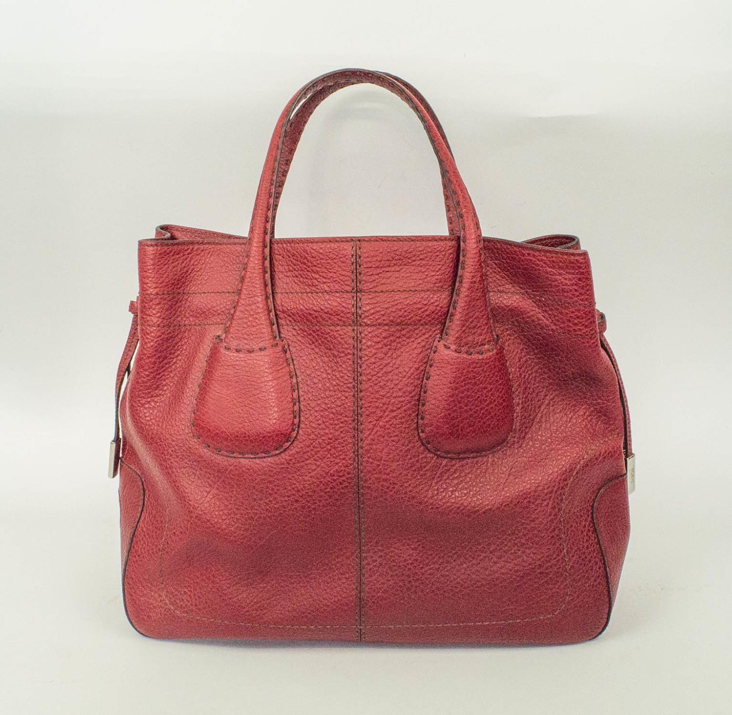 TOD'S DRAWSTRING TOTE BAG, leather with optional tightening drawstring closure, silver tone bottom - Image 2 of 8