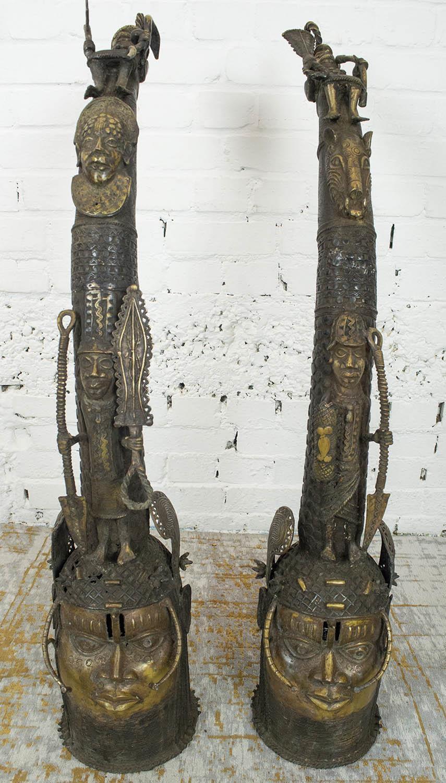 BENIN OBA BRONZE THRONE HEADS, a pair, 105cm H. (2) - Image 3 of 6
