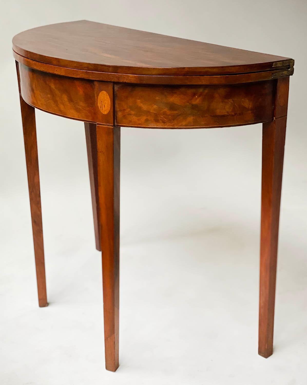 TEA TABLE, George III flame mahogany with demi lune foldover top and satinwood paterae headed - Image 3 of 6