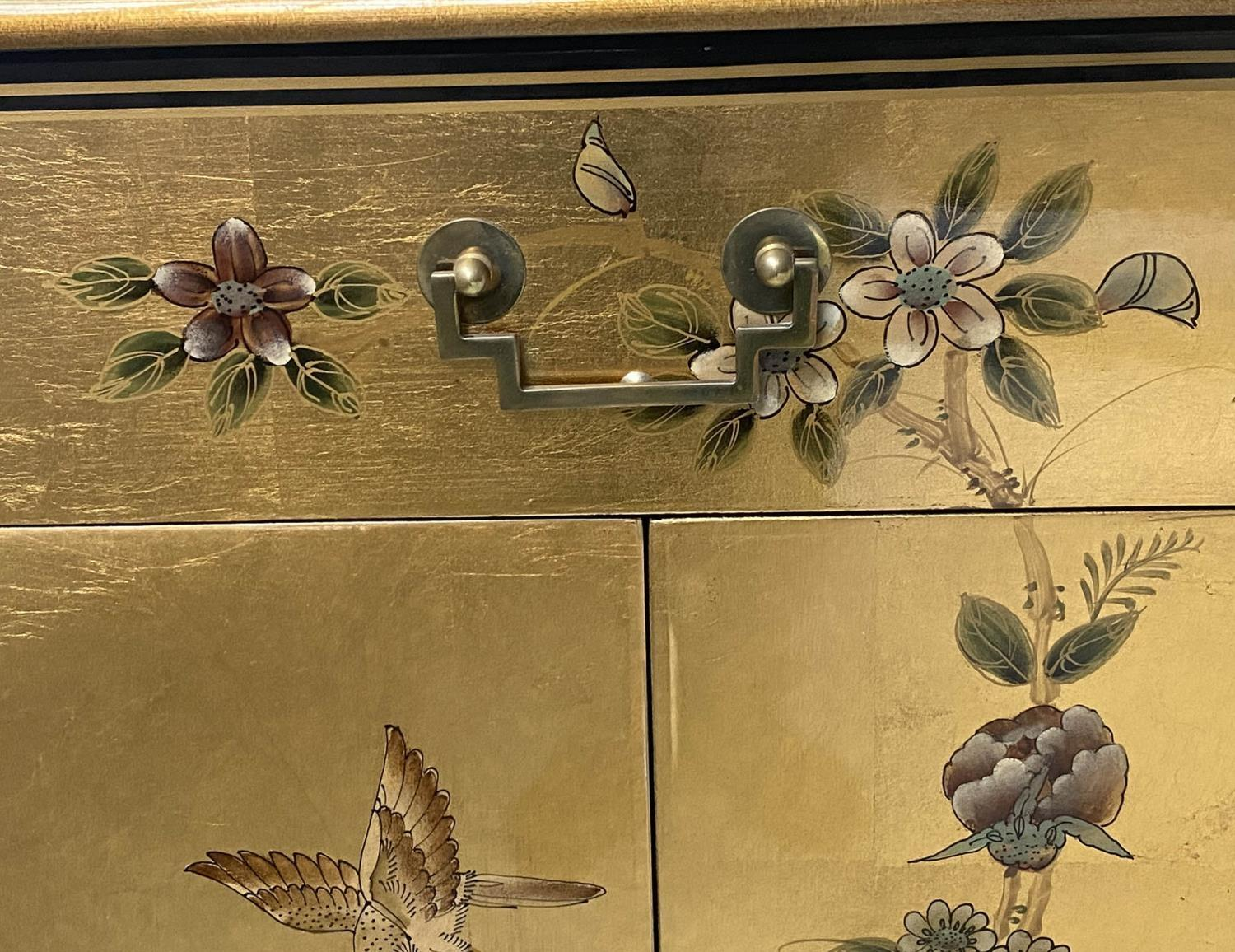 SIDE CABINET, 20th century Chinese D outline gilt lacquer and flower decorated with drawer and - Image 8 of 9