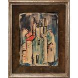 MOUNIR NAJEM (Lebanon 1933-1990) 'Houses', 20cm x 27cm, watercolour, signed Rowley Gallery label