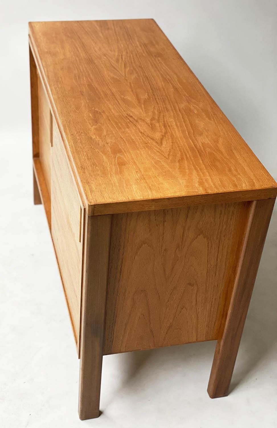 GORDON RUSSELL SIDEBOARD, 1960's walnut with two sliding doors enclosing shelves stamped Gordon - Image 3 of 8