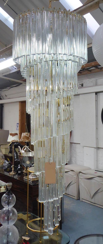 MURANO CHANDELIER, vintage Triedri glass spiral, gilt metal frame, 52cm diam x 150cm drop. (a few