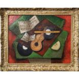CAROL MADISON, 'Still Life with Guitar and Melon', oil on board, 34cm x 44cm, signed and framed.