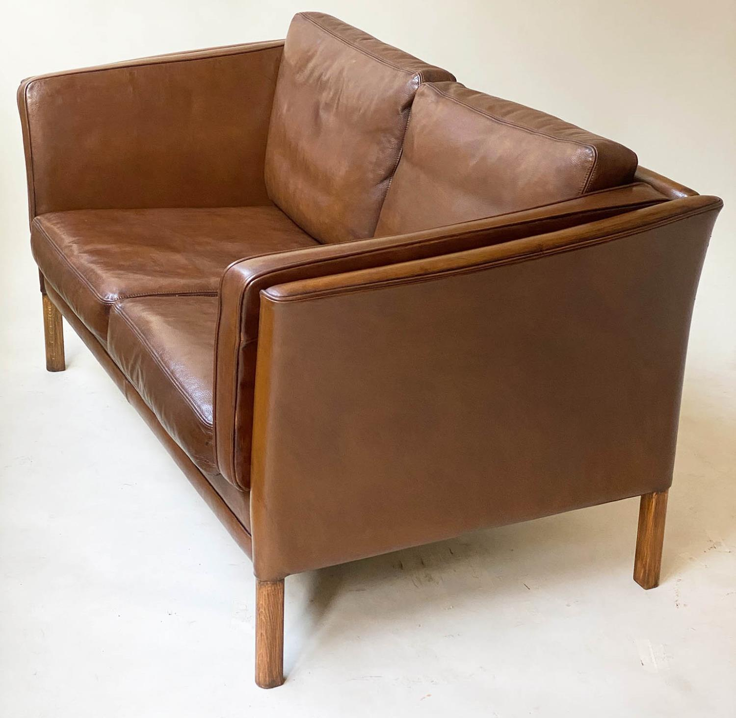 SOFA, teak, 1970's Danish style grained tan leather with two cushion seat and back, 150cm W. - Image 4 of 5
