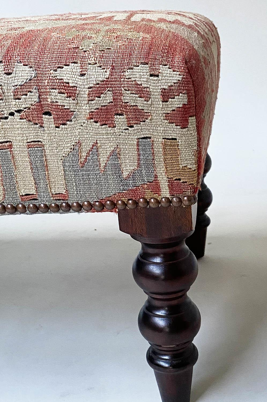 GEORGE SMITH KELIM HEARTH STOOL, rectangular antique kelim upholstered with solid mahogany turned - Image 6 of 9