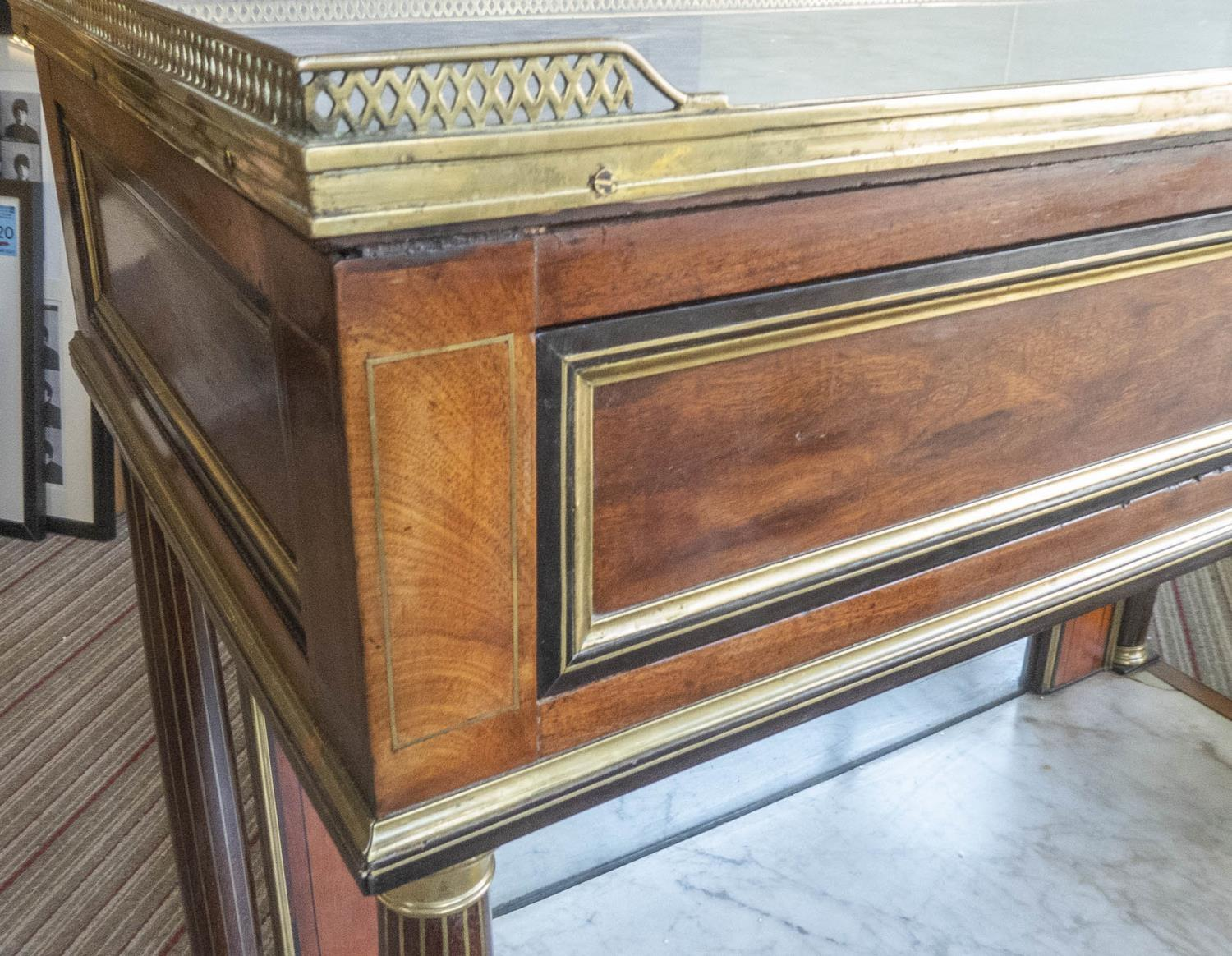 CONSOLE DESSERTE, late Louis XVI mahogany, ebony and brass mounted, white marble top above a - Image 4 of 7