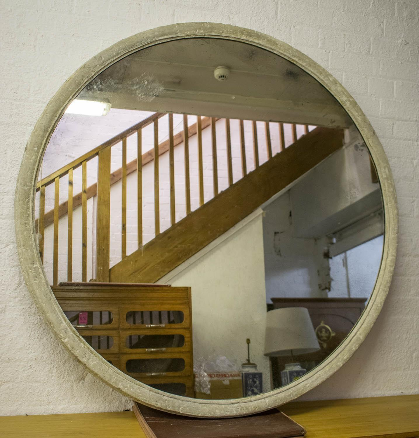 WALL MIRROR, Victorian white scratched wood and gesso framed with circular antiqued plate, 138cm D.