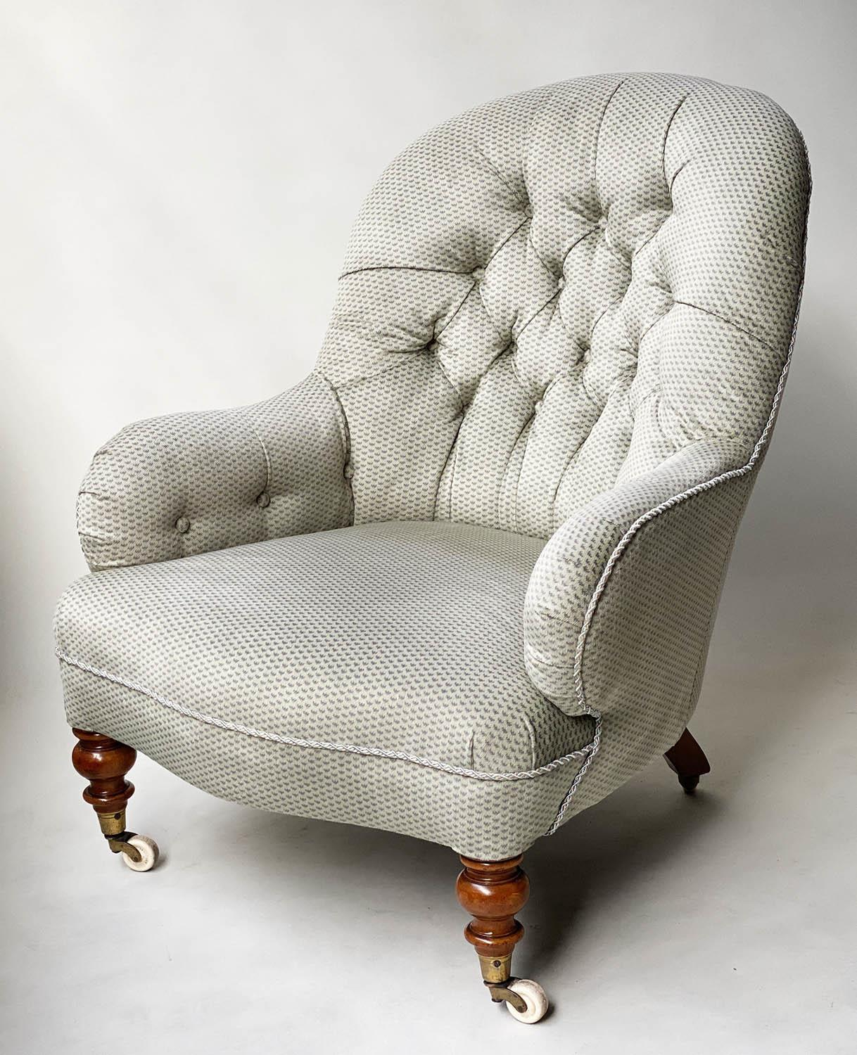 ARMCHAIR, Victorian walnut in Colefax and Fowler style printed sateen with button back silver silk