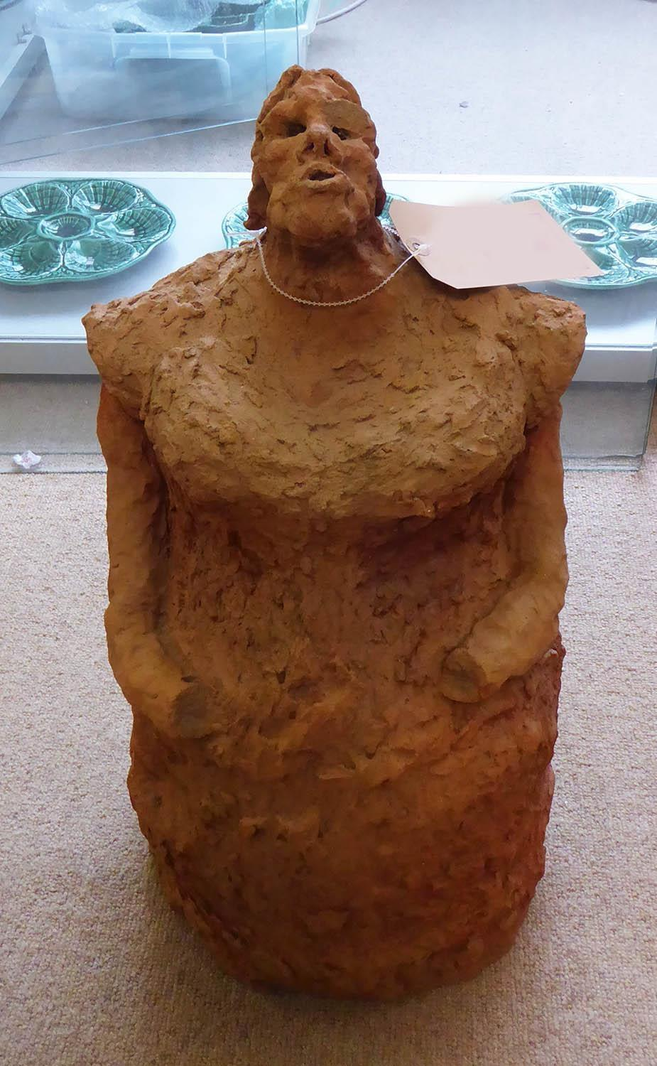 SRI LANKAN SCHOOL 'Female Figure', garden terracotta sculpture, 54cm x 24cm x 24cm.