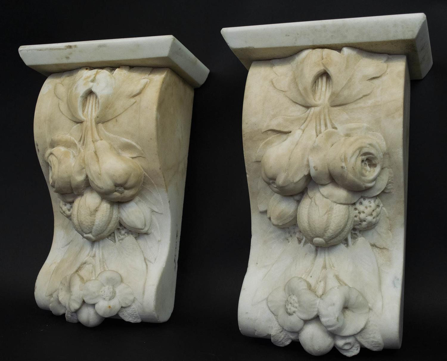 CORBELS, a pair, Victorian carved marble, of flowers and fruit, 30cm H x 18cm W. (2) - Image 2 of 6