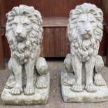 GARDEN/GATE LIONS, a pair, reconstituted stone lions rampant, 44cm x 50cm x 90cm H. (2)