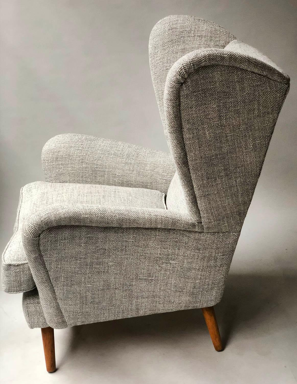 HOWARD KEITH ARMCHAIR, 1950's lounge chair newly upholstered in oatmeal soft tweed with splay - Image 5 of 5