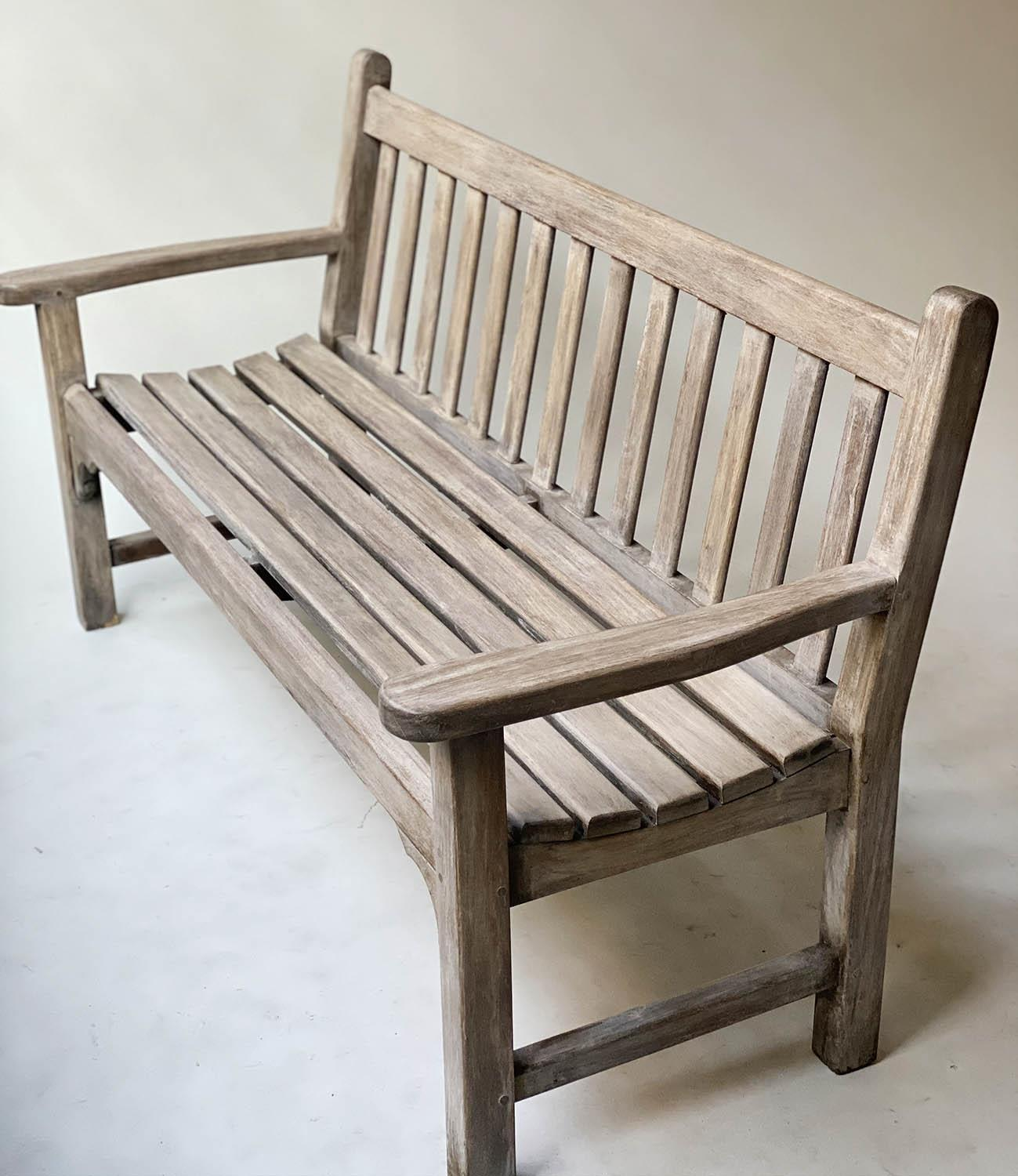 GARDEN BENCH, weathered teak of slatted construction with flat top arms, 160cm W. - Image 3 of 6