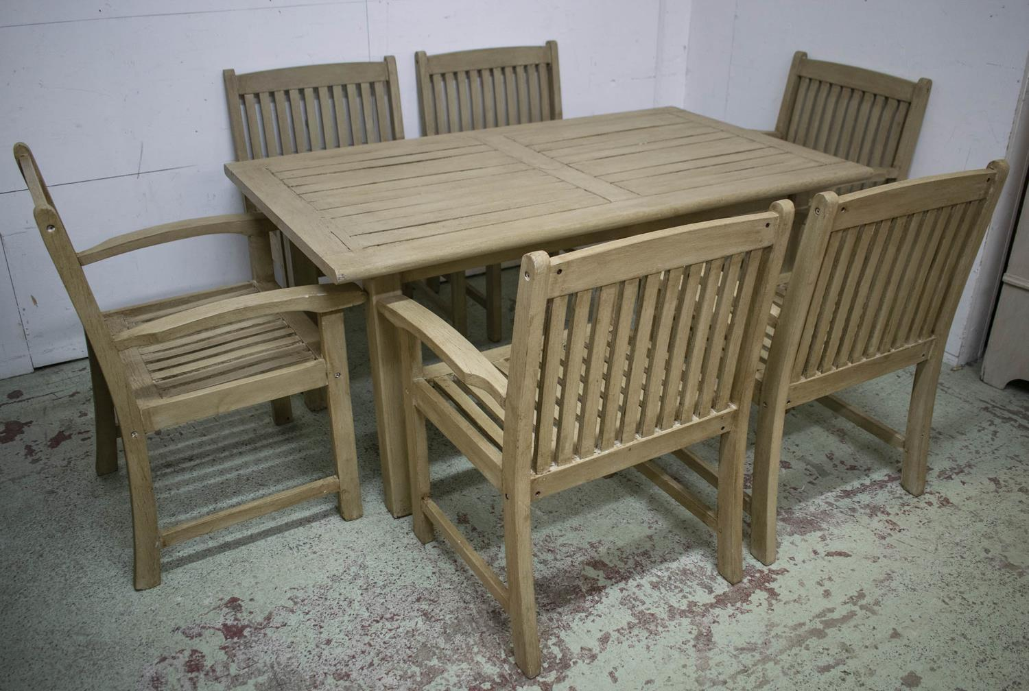 GARDEN TABLE, painted teak rectangular 72cm H x 153cm x 90cm and a set of six armchairs. (7) - Image 3 of 3