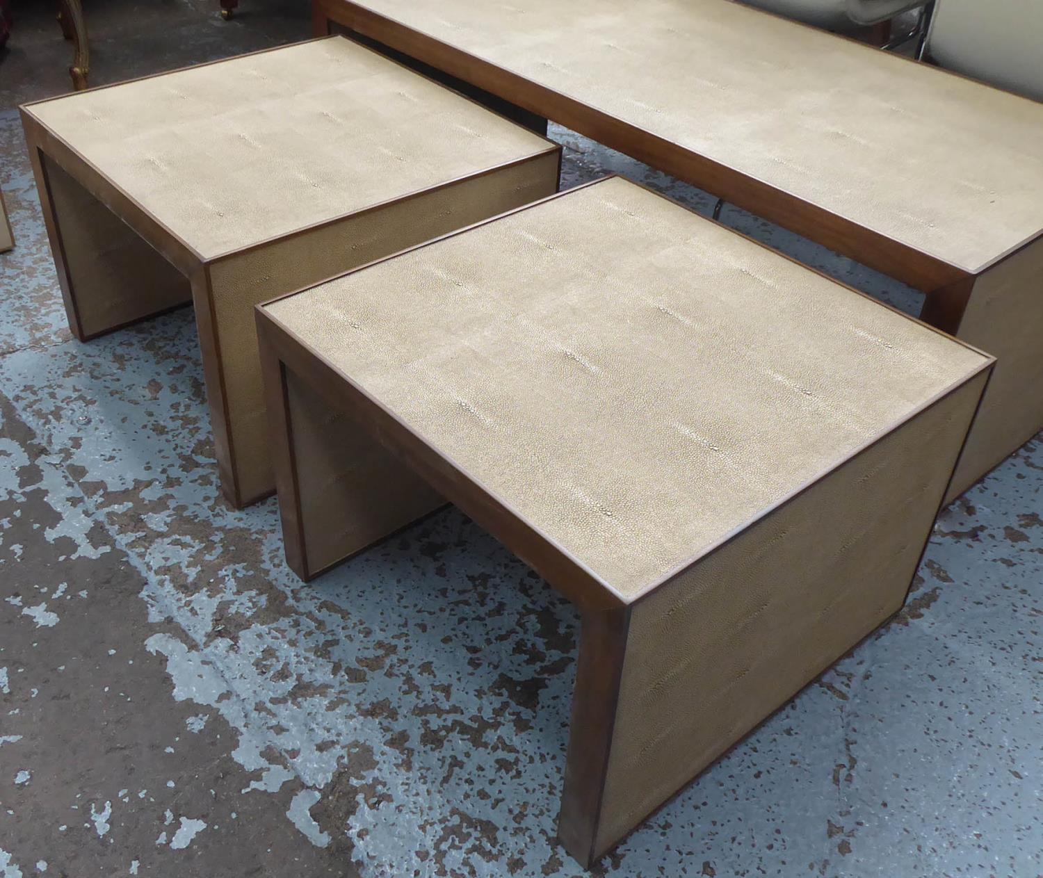 NEST OF TABLES, contemporary, faux shagreen finish, 137.5cm x 67cm x 49cm at largest.