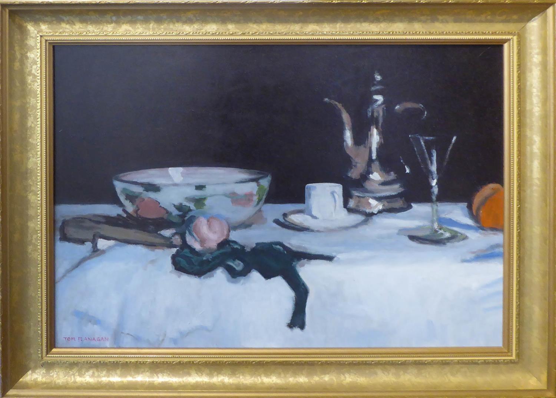 TOM FLANAGAN 'Still life', oil on canvas, signed lower left, 45cm x 60cm, framed.