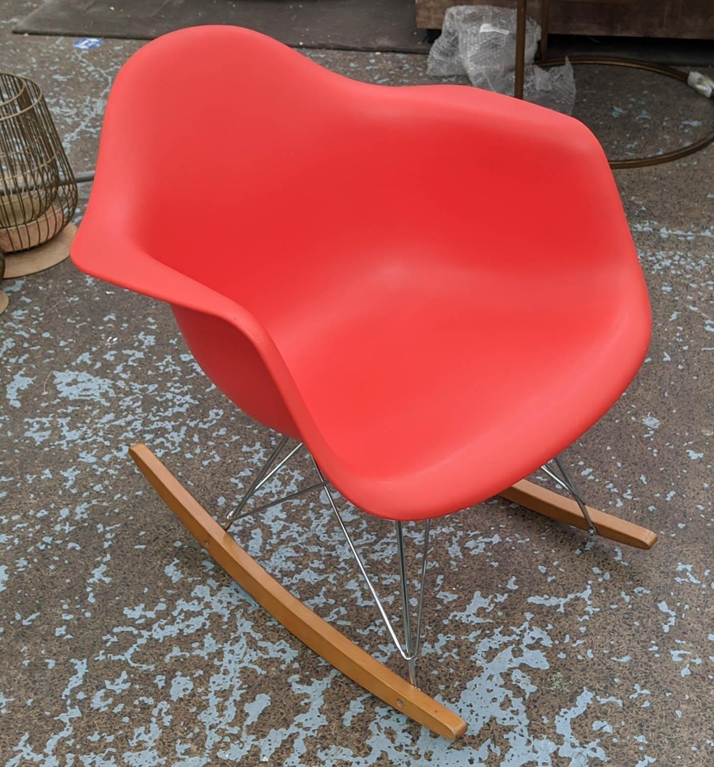 VITRA RAR ROCKING CHAIR, by Charles and Ray Eames, red, 62cm x 70cm H.(scratch to front)