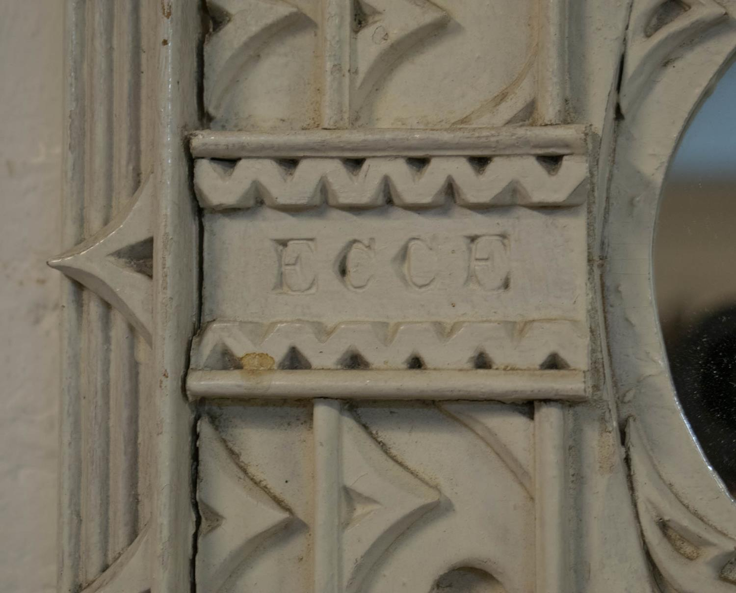 WALL MIRROR, 19th century grey painted with lobed plate and inscription 'Ecce Homo' in Gothic - Image 3 of 3