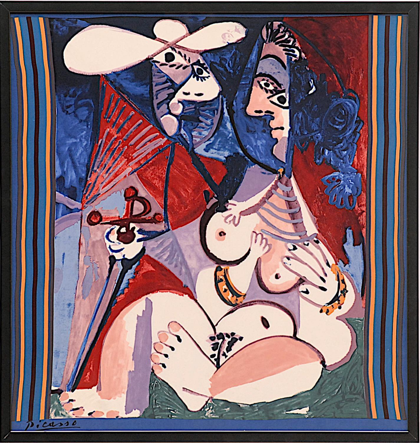 AFTER PABLO PICASSO 'Seated Woman', on silk, signed in the plate, 82cm x 78cm.