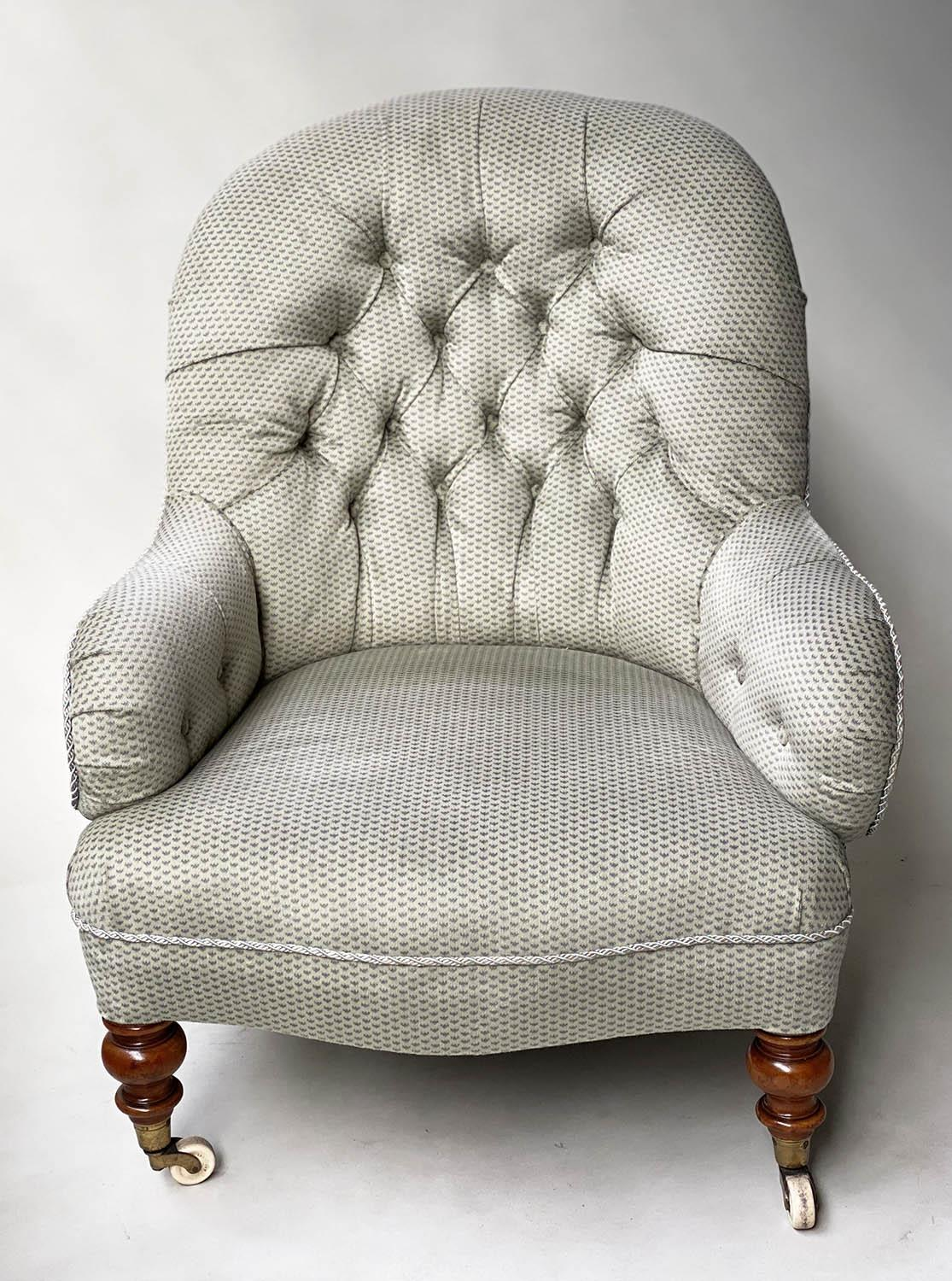 ARMCHAIR, Victorian walnut in Colefax and Fowler style printed sateen with button back silver silk - Image 6 of 6
