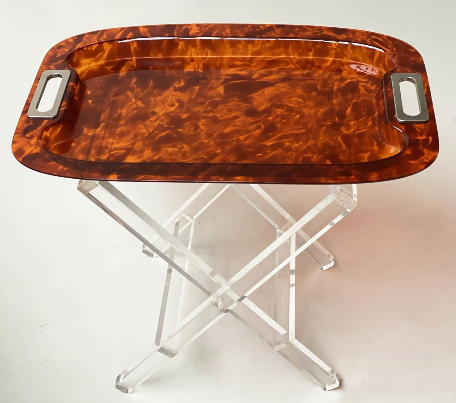 TRAY ON STAND, rectangular faux tortoiseshell with silvered metal handles on folding lucite stand,