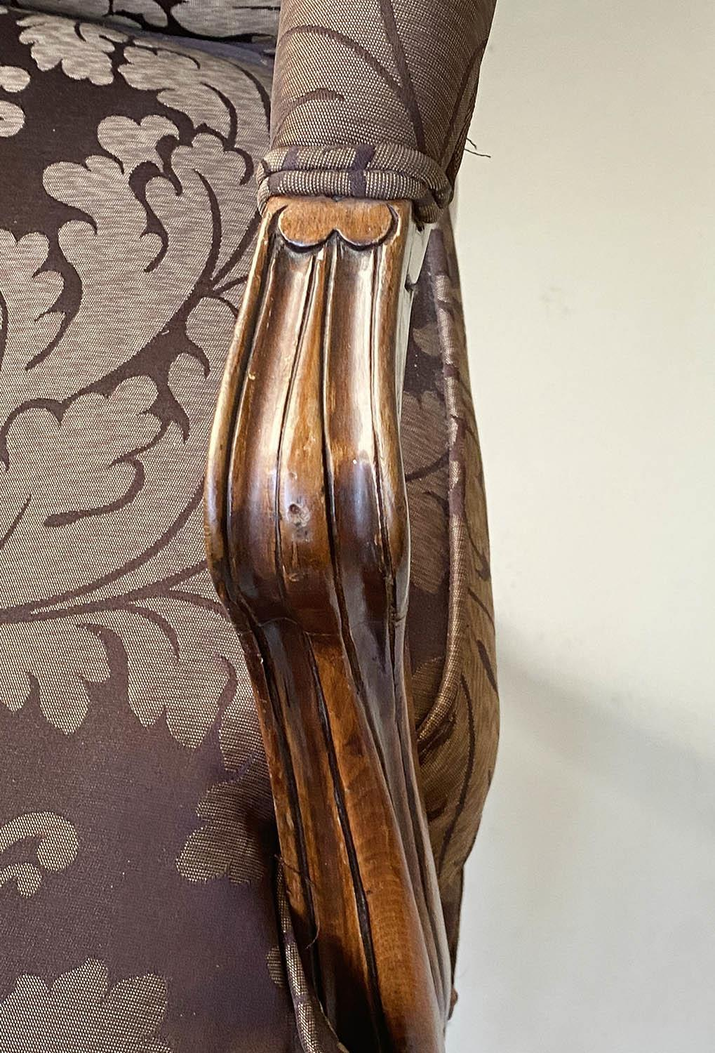 FAUTEUILS, a pair, French Louis XV style, stained walnut, with two tone brown leaf silk - Image 6 of 9