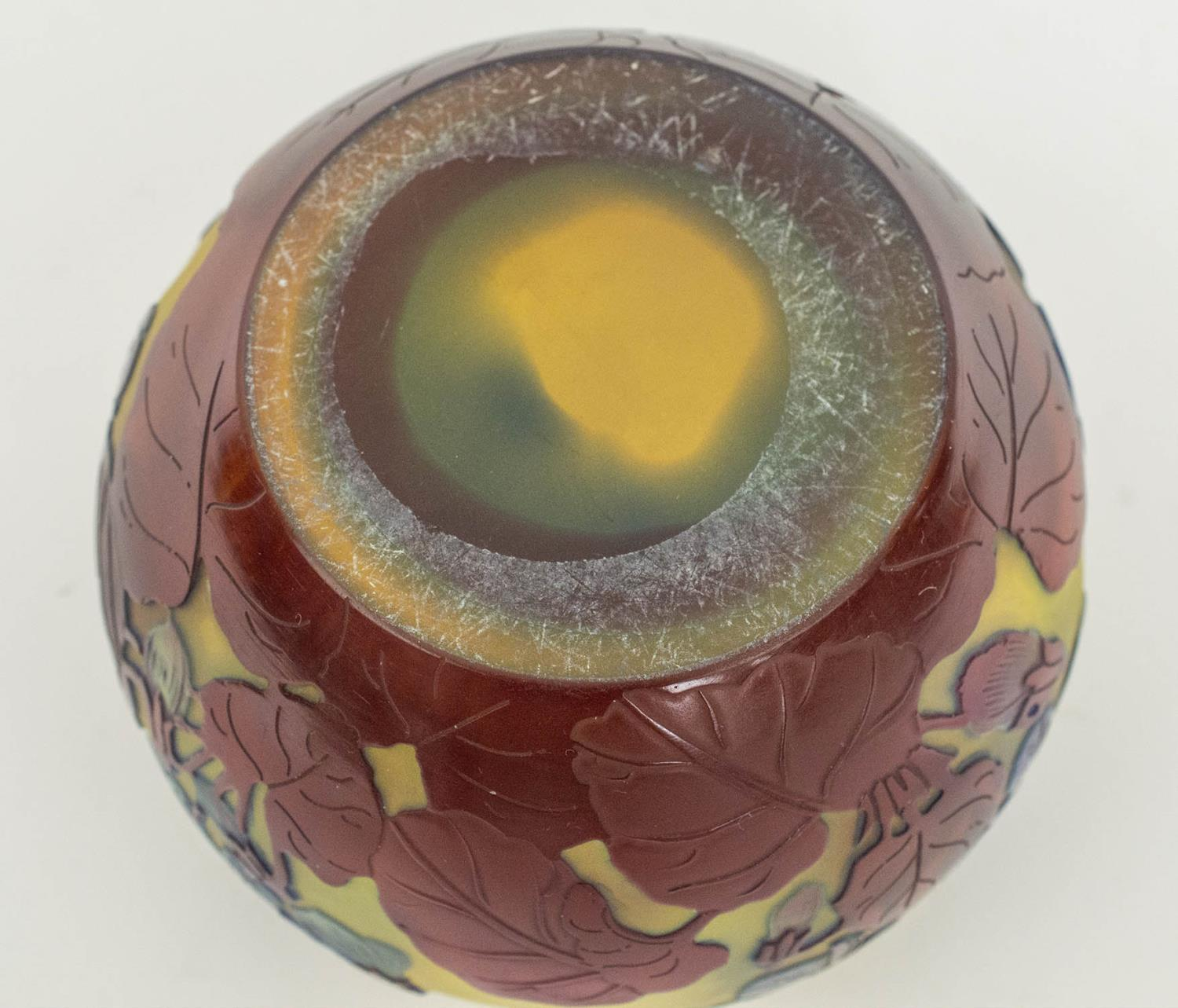 BOWL, Emile Galle Cameo glass, having subtle light blue and amethyst tones with foliate pattern, 8cm - Image 6 of 6