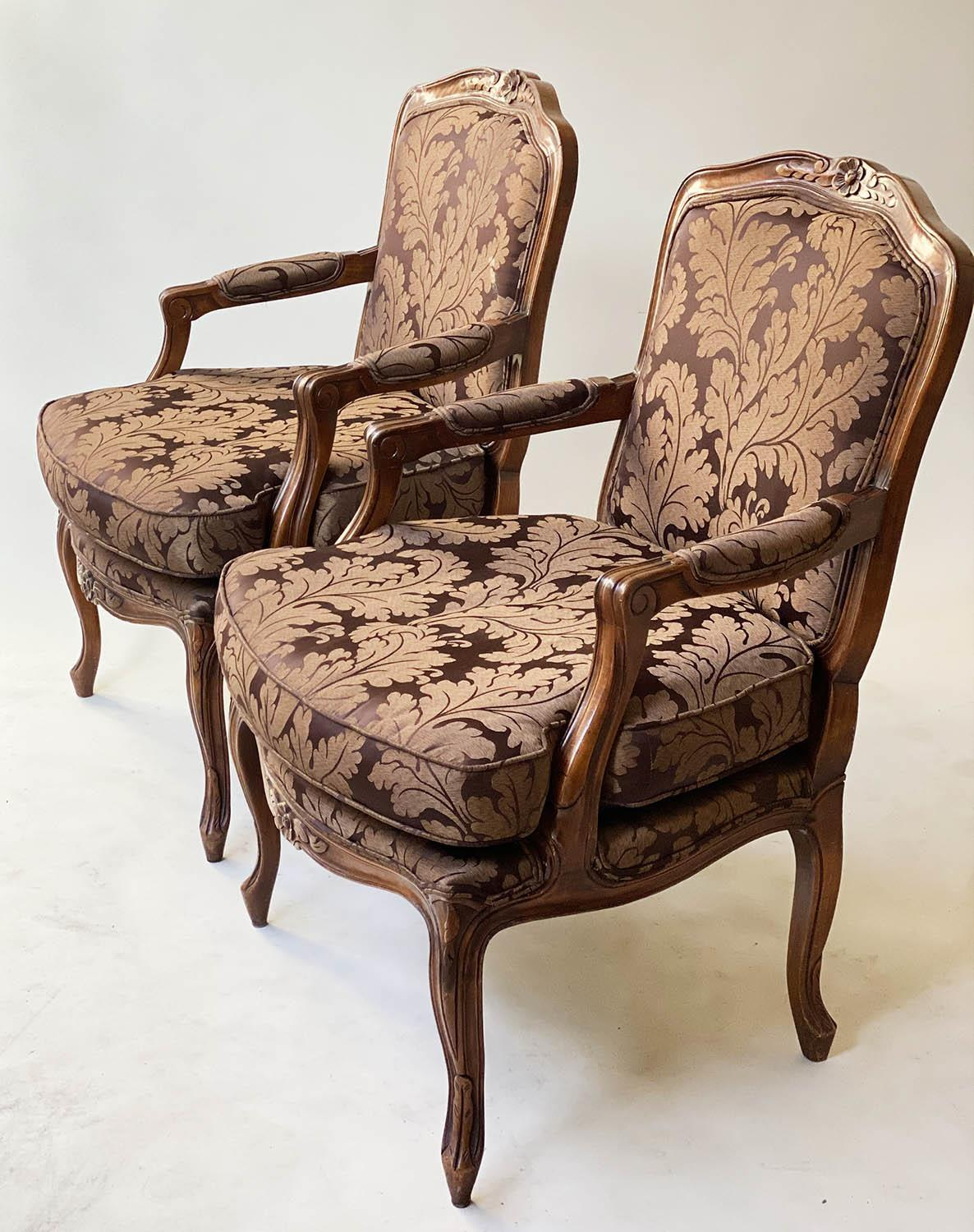 FAUTEUILS, a pair, French Louis XV style, stained walnut, with two tone brown leaf silk - Image 9 of 9