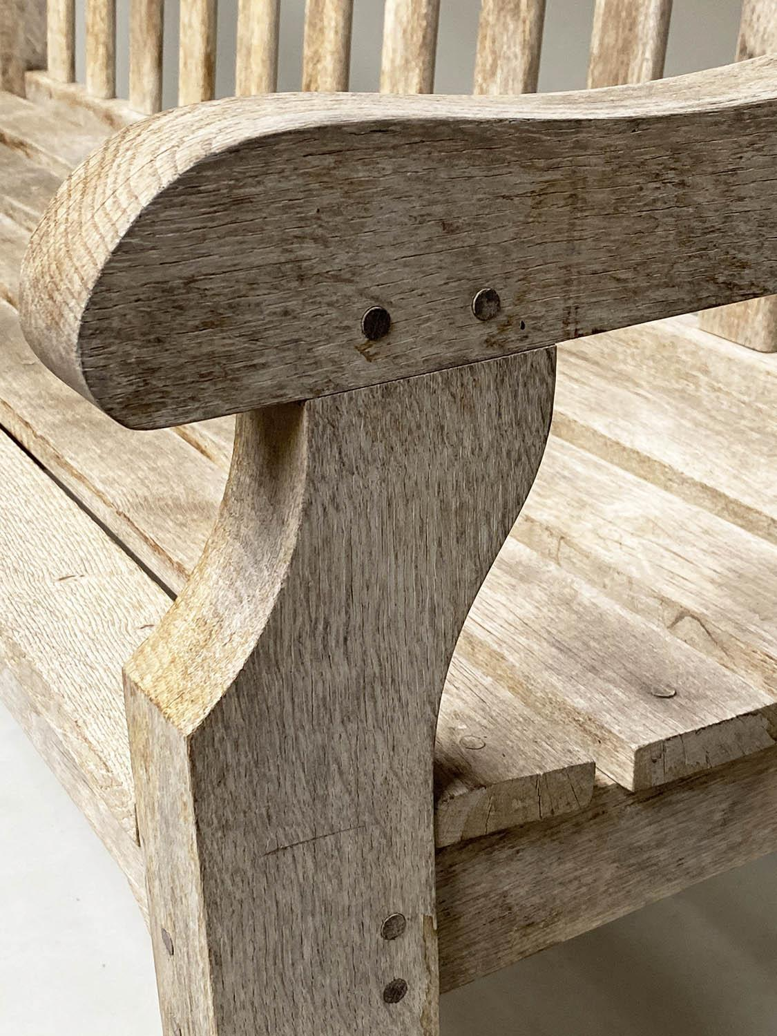 ENGLISH GARDEN BENCH, weathered English oak of substantial and slatted construction, 168cm W. - Image 3 of 8