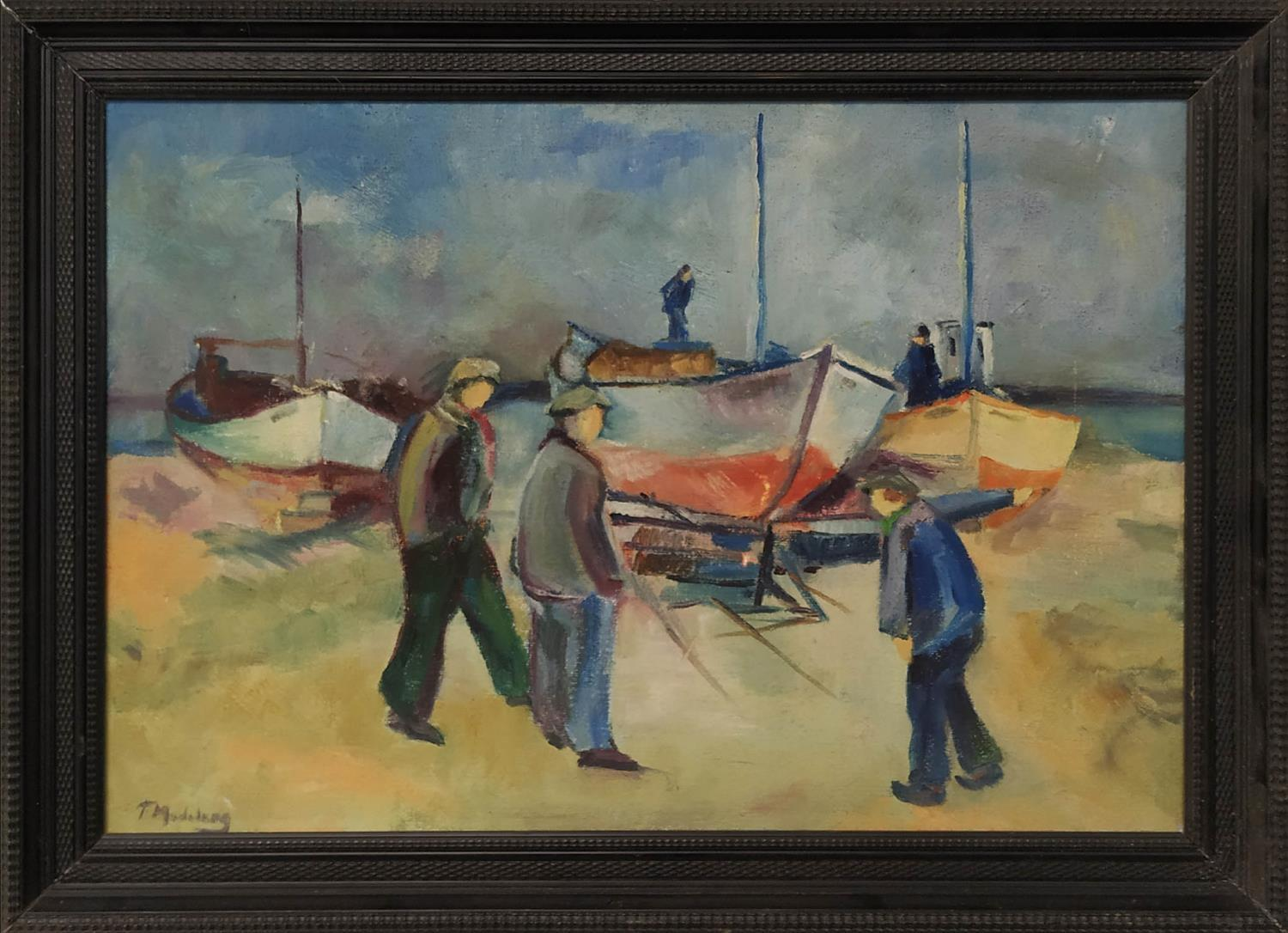 FREDERICK MADELUNG (20th century, German) 'Fisherman and Boats), oil on canvas, signed and framed,