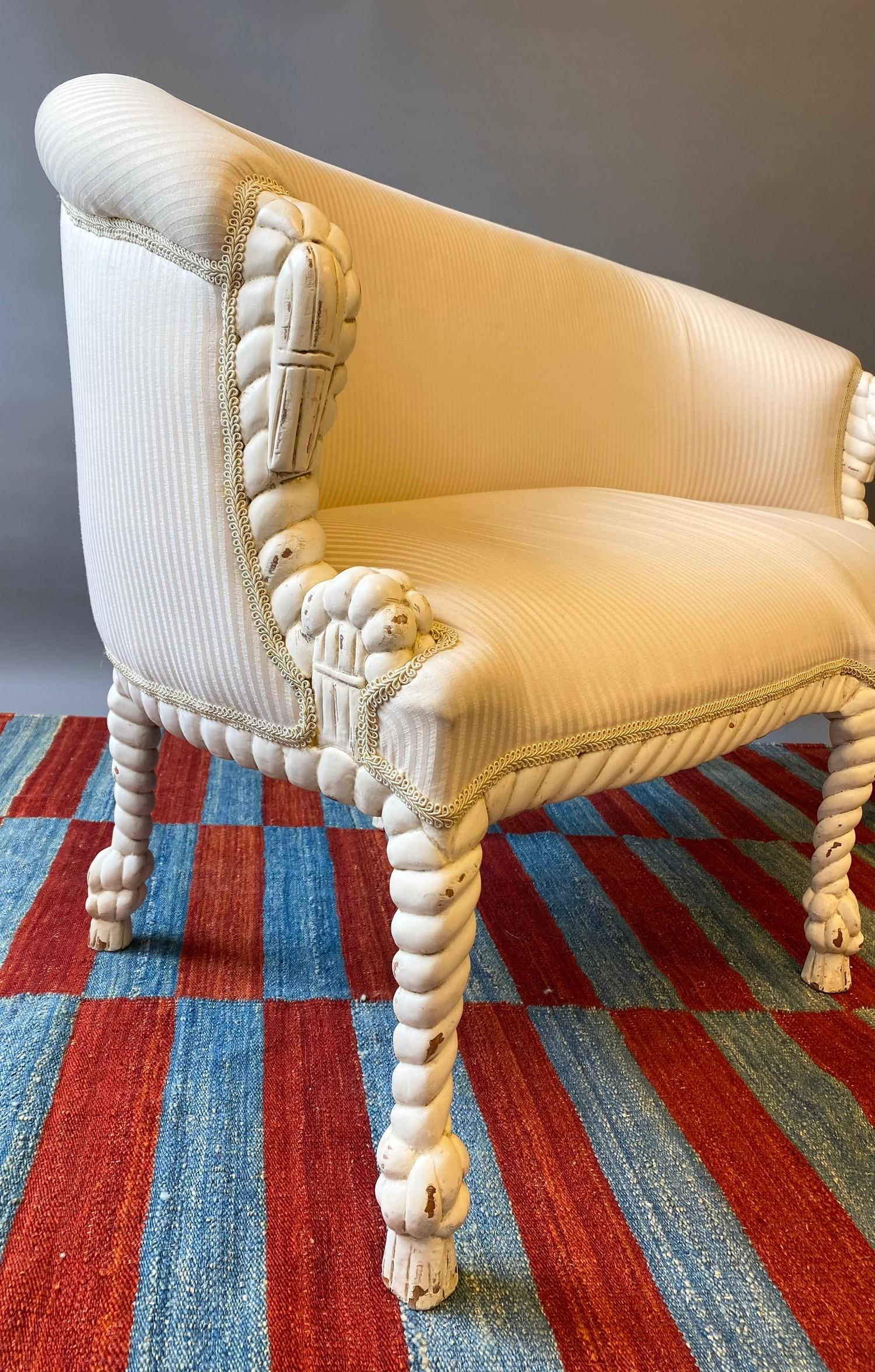CANAPE, in the manner of A.M.E. Fournier, 20th century French painted carved rope twist frame with - Image 4 of 6