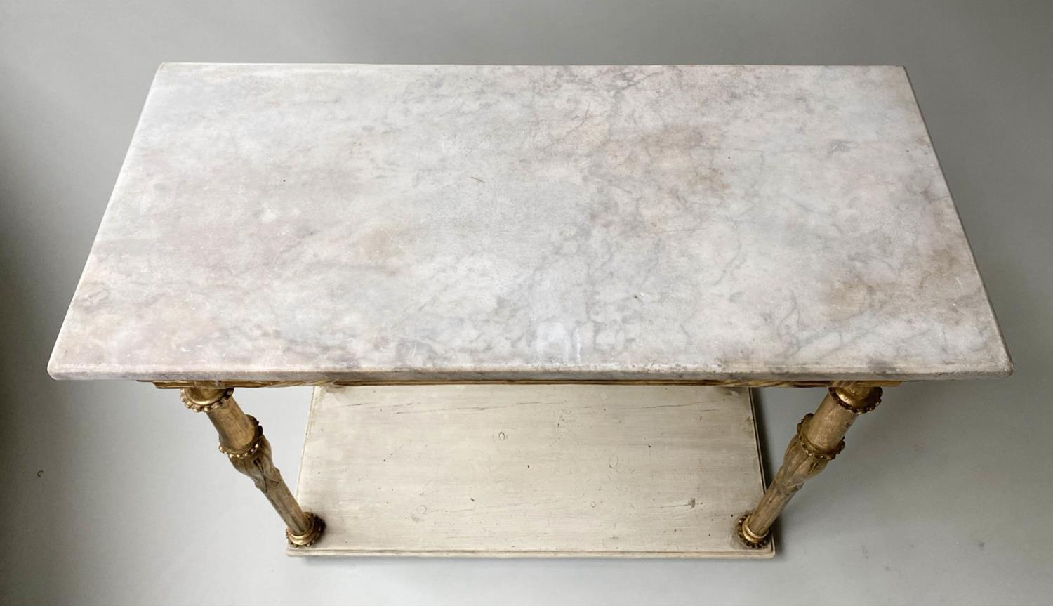CONSOLE TABLE, early 19th century Italian giltwood with rectangular marble top above lappet and - Image 6 of 8