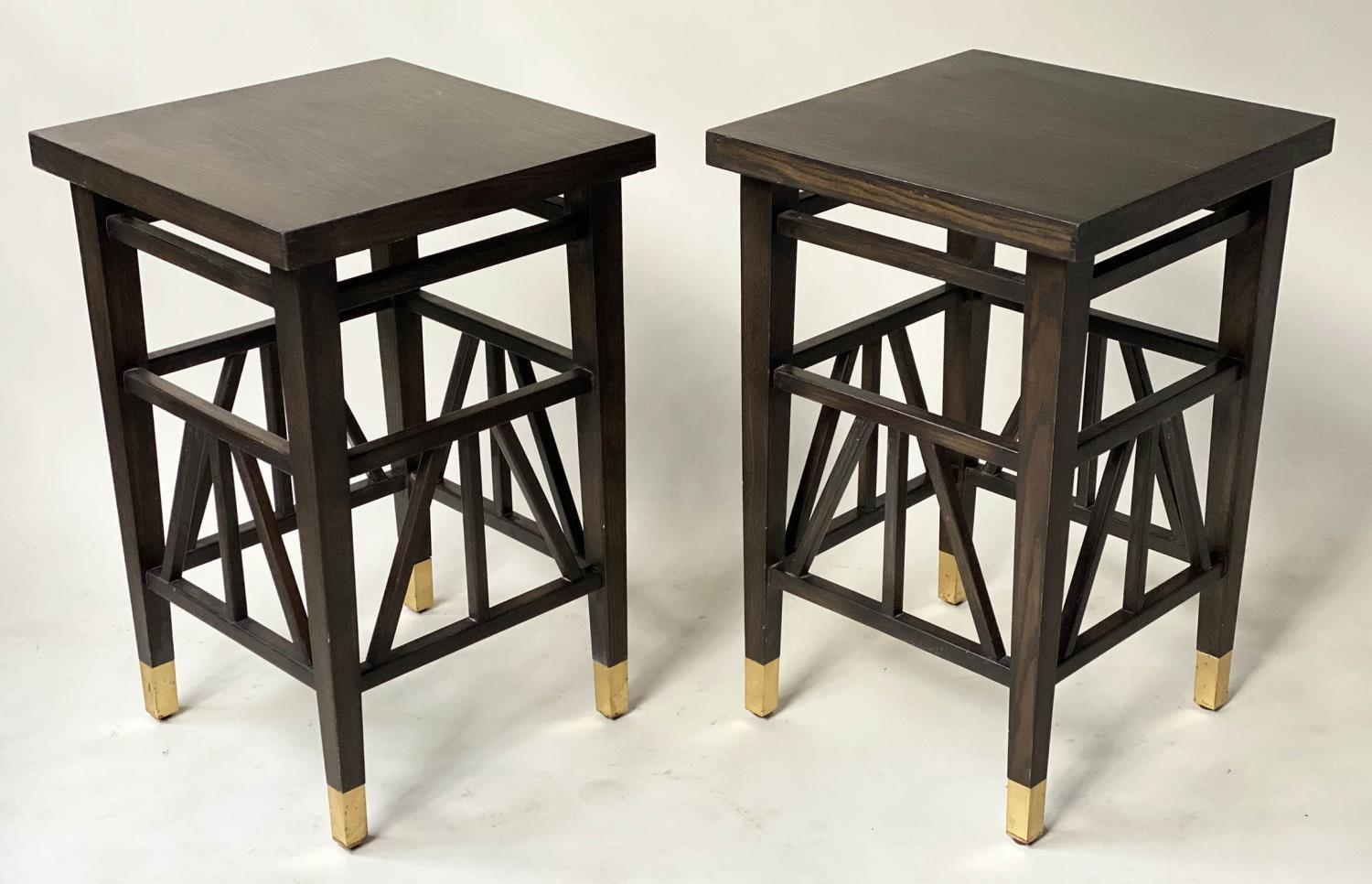 LAMP TABLES, a pair, Liberty style black lacquered, square tops with brass tipped supports, 40cm x