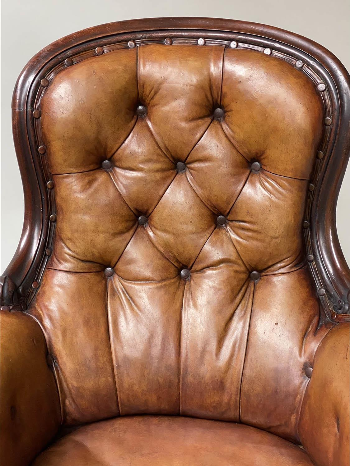 LIBRARY ARMCHAIR, early Victorian mahogany, with hand dyed tobacco brown leather, buttoned back, - Image 7 of 9