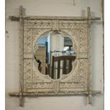 WALL MIRROR, 19th century grey painted with lobed plate and inscription 'Ecce Homo' in Gothic
