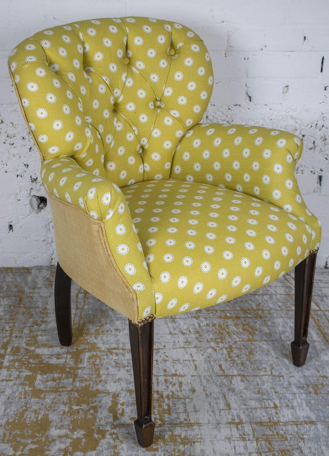 ARMCHAIR, Georgian style in yellow and white dot patterned fabric, 86cm H x 66cm x 66cm.