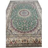 FINE PART SILK PERSIAN ISPHAHAN CARPET, 355cm x 246cm.