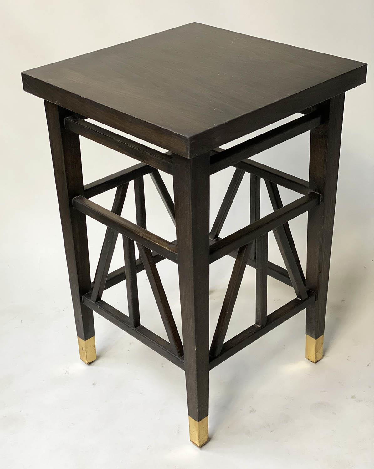 LAMP TABLES, a pair, Liberty style black lacquered, square tops with brass tipped supports, 40cm x - Image 2 of 5